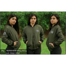 Sw Jaket Bomber Wanita Hijau Army Sleepwalking Diskon