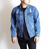Diskon Sw Jaket Jeans Pria Riped Sobek Premium Sleepwalking