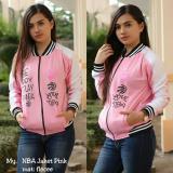 Sw Jaket Sweater Wanita Pink Combinasi Putih Asli