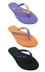 Sandal Swallow Premium SLIMFEET Wanita - Bundle 3 Pasang Violet-Orange-Hitam