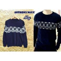 Sweater Anthony Navy / Baju Casual Pria Cowok Harian / Jaket Sweter Pria Distro Murah / Baju Pria Harian Kerja Kantor - Kuliah Kampus Cowok