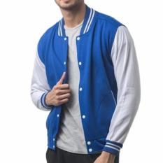 Beli Sweater Basic Varsity Pria Biru Putih Polos Kredit