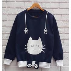 Sweater Fashion wanita Lucu - Charlie the Cat - Sweater bahan Fleece