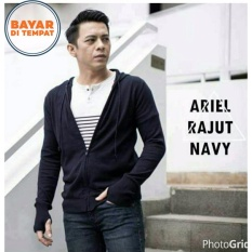 Sweater Jaket Rajut Ariel Noah Best Seller - Navy