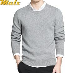 Promo Sweater Pria O Neck Grey Cotton Premium Murah