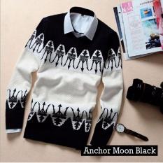 Promo Sweater Pria Rajut Anchor Moon Black Rajut Tribal Murah