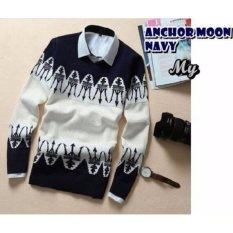 Spek Sweater Pria Rajut Anchor Moon Navy Rajut Tribal