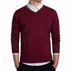 Harga Sweater Pria Rajut V Neck Best Seller Maroon D1Ny Collection Terbaik