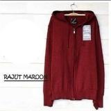 Kualitas Sweater Rajut Ariel Hoodie Zipper Maroon Dmxstore