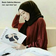 Sweater Rajut Basic Sabrina Maroon Asli