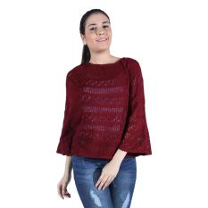 Harga Sweater Rajut Cewe Crop Jaring Original Maroon Terbaru
