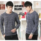 Harga Sweater Rajut Pria Keren Model Vintage Alfaro Black Seken