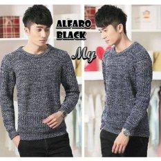 Harga Sweater Rajut Pria Keren Model Vintage Alfaro Black Sweater Rajut Online