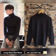 Jual Beli Sweater Rajut Pria Pakaian Rajut Long Neck Man Black Baru Jawa Barat