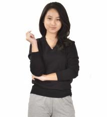 Jual Sweater Rajut V Neck Polos Vanessa Wanita Okechuku Black Dki Jakarta Murah