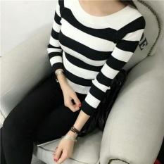 Baju Wanita Shop Sweater Rajut Wanita Garis / Sweater Hangat Lengan Panjang / Sweater Kasual Jalan Santai Korea Baju Tebal / Sweater Panjang / Kaos Sweater / Sweater Panjang  (raza pot) NR - Hitam D3C