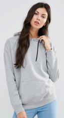 Sweater Topi Polos Basic Wanita Hoddie Baby Terry Okechuku Grey Okechuku Diskon