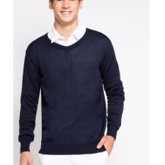 Spesifikasi Sweater Vneck Casual Pria Navy Best Seller Dan Harga