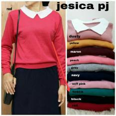Sweater Kerah Wanita Rajut Lengan Panjang Bahan Adem / Kaos Tshirt Wanita Polos / Vneck / Formal Jalan Santai Kasual (ssicaje kw) NR - Tosca D3C