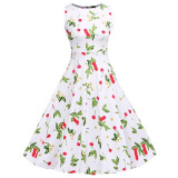 Ongkos Kirim Sweet Cherry Print A Line Dress Round Collar Lace Up Patchwork Sleeveless Back Zipper Bowtie Women White Intl Intl Tc Di Tiongkok
