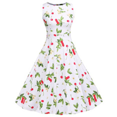Diskon Besarsweet Cherry Print A Line Dress Round Collar Lace Up Patchwork Sleeveless Back Zipper Bowtie Women White Intl Intl Tc