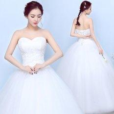 Manis Pernikahan Gaun Renda Bunga Manik-manik Kristal Pernikahan Gaun Putih Pernikahan Gaun