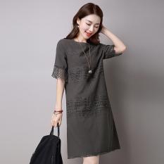 SY Korea Fashion Style Katun Renda Gaun Kata (Abu-abu) (Abu-abu)