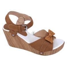Cuci Gudang Syaqinah Sepatu Wedges Wanita Coklat