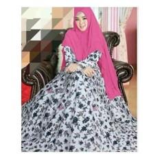 Jual Syar I Monalisa Busana Muslim Wanita White Pink Motif Dki Jakarta