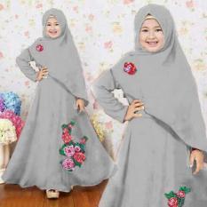 [Syari Anak Naura Abu SW] Baju Muslim Anak Perempuan Jersey Abu Abu