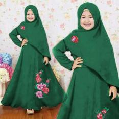 [Syari Anak Naura Hijau SW] Baju Muslim Anak Perempuan Jersey Hijau