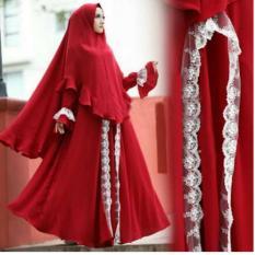 [Syari Slavina Merah SW] Gamis Wanita Jersey Wanita Merah
