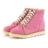 Spesifikasi Kulit Sintetis Lace Up Fur Wanita Hangat Ankle Boots Flat Sepatu Salju Musim Dingin Merah Muda Intl Intl