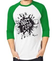 Sz Graphics Art Club T Shirt Raglan 3/4 Pria Kaos Raglan 3/4 Pria T Shirt Pria Kaos Pria T Shirt Fashion-Hijau Putih