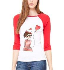 Toko Sz Graphics Balloon G*rl T Shirt Wanita Kaos Raglan Wanita Merah Putih Online Dki Jakarta