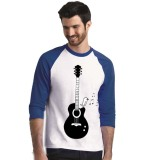 Review Sz Graphics Guitar Melody T Shirt Raglan 3 4 Pria Biru Putih