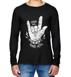 Promo Sz Graphics Heavy Metal T Shirt Pria Long Sleeve Hitam