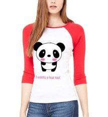 Sz Graphics I Want A Hug T Shirt Raglan 3/4 Kaos Raglan 3/4 T Shirt Wanita Kaos Wanita T Shirt Fashion-Merah Putih
