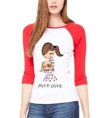 Sz Graphics Joy Love T Shirt Raglan 3/4 Kaos Raglan 3/4 T Shirt Wanita Kaos Wanita T Shirt Fashion-Merah Putih