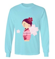 Beli Sz Graphics Kimono Flower T Shirt Long Sleeve Wanita Kaos Lengan Panjang Wanita T Shirt Wanita Kaos Wanita T Shirt Fashion Biru Cicilan