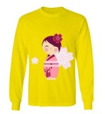 Promo Sz Graphics Kimono Flower T Shirt Long Sleeve Wanita Kaos Lengan Panjang Wanita T Shirt Wanita Kaos Wanita T Shirt Fashion Kuning Di Dki Jakarta