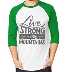 Sz Graphics Live Strong T Shirt Pria Kaos Raglan Pria - Hijau Putih
