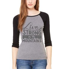 Review Sz Graphics Live Strong T Shirt Wanita Kaos Raglan Wanita Misty Hitam Terbaru
