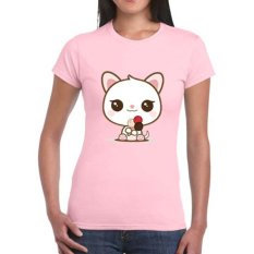 Model Sz Graphics Loving Cat T Shirt Wanita Kaos Wanita Pink Terbaru