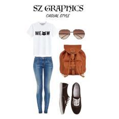 Beli Sz Graphics Meow T Shirt Wanita Kaos Wanita T Shirt Fashion Wanita Putih Di Dki Jakarta