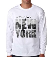 Harga Sz Graphics New York T Shirt Long Sleeve Pria Kaos Lengan Panjang Pria T Shirt Pria Kaos Pria T Shirt Fashion Putih Asli Sz Graphics