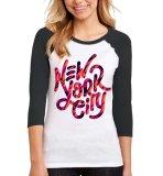Beli Sz Graphics New York T Shirt Wanita Kaos Raglan Wanita Hitam Yang Bagus