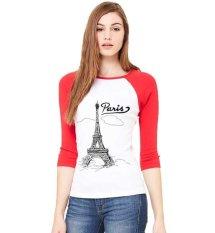 Obral Sz Graphics Paris T Shirt Raglan 3 4 Kaos Raglan 3 4 T Shirt Wanita Kaos Wanita T Shirt Fashion Merah Putih Murah