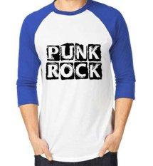 Sz Graphics Punk Rock T-Shirt Raglan 3/4 Kaos Raglan 3/4 T Shirt Pria Kaos Pria T Shirt Fashion-Biru Putih
