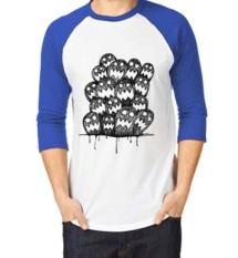 Sz Graphics T Shirt Raglan 3/4 Kaos Raglan T Shirt Fashion face art-biru putih